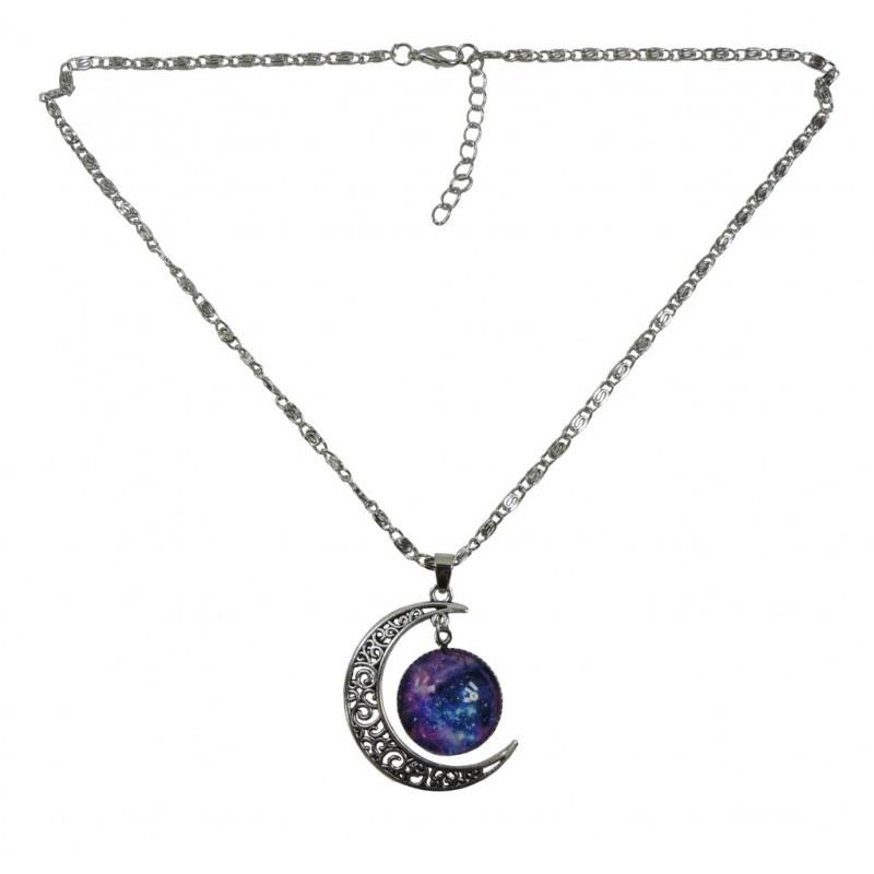 Collar Media Luna con Galaxi Plateada