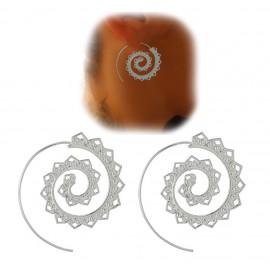 Pendientes Espiral Corazones Plateado (par)