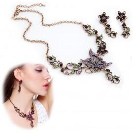 Collar y Pendientes Mariposa Gotica