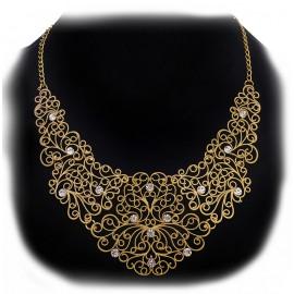 Collar Dorado Clasico Cristales