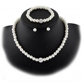 Collar y Pendientes Perlas Bola Blanca