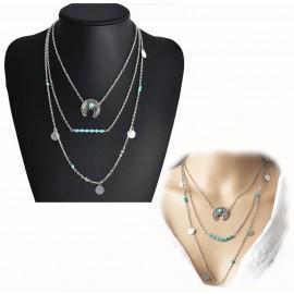Collar 3 Cadenas Lunas Perla Turquesa