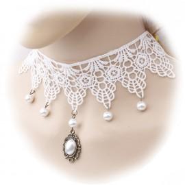 Collar Gotico Blanco Perlas