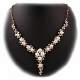 Collar Perlas con Cristales Flor Dorado