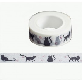 Tape Blanco Gatitos Negros 1,5cm
