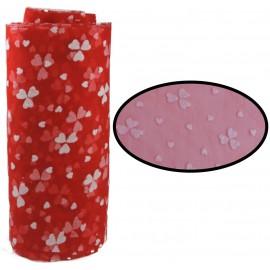 Tull Elastico Rojo Corazones Blanco ↕ 15 cm