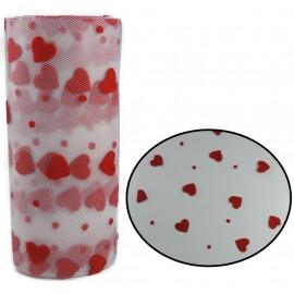 Tull Gris Corazones Rojos ↕ 15 cm
