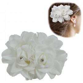 Pinza Pelo Doble Flor Blanca Cristal