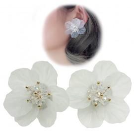 Pendientes Flor Blanca Pistilos Ø4 cm (Par)