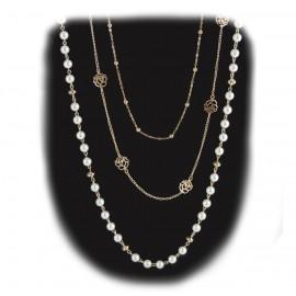 Collar 3 Cadenas / Perla Rosa Calada