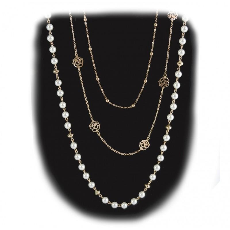 392dabd1a1bb Collar 3 Cadenas   Perla Rosa Calada