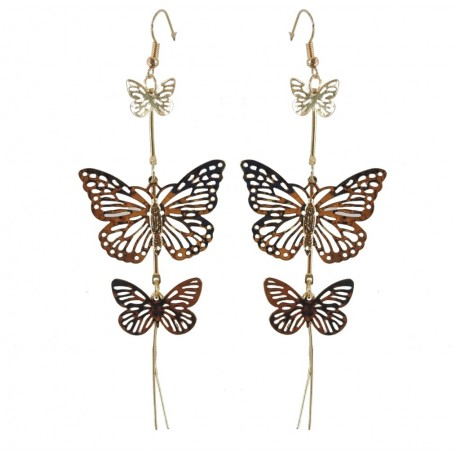 Pendientes 3 Mariposas Doradas