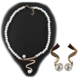 Collar y Pendientes Perla Cristales Dorado