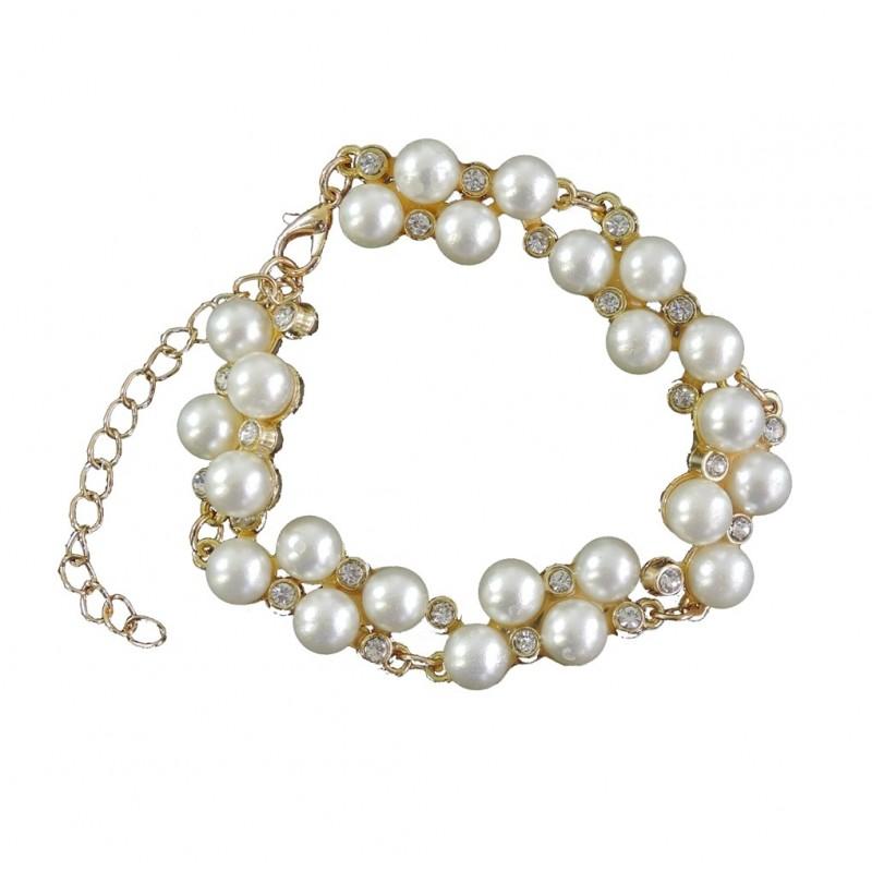 Pulsera Perlas y Cristales Dorada