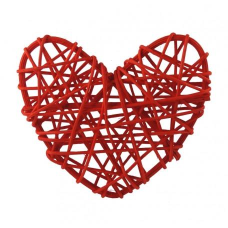 Corazon Ratán Ø 13 cm Rojo