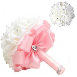 Bouquet Novia Rosas Blancas Lazo Rosa
