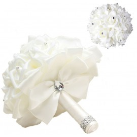 Bouquet Novia Rosas Blancas Lazo Blanco