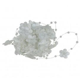 Guirnalda Perlas con Flor Blanca