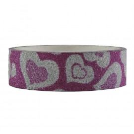 Tape Brillo Corazones Fucia ↕ 1,5 cm