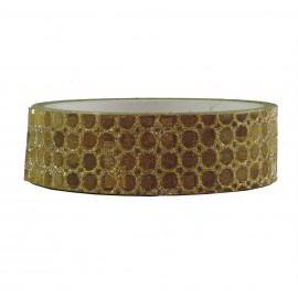 Tape Brillo Circulos Dorados ↕ 1,5 cm