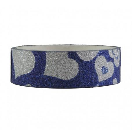 Tape Brillo Corazones Azul ↕ 1,5 cm