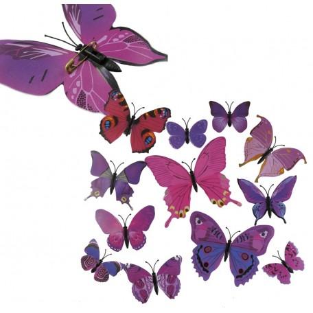 Mariposa con Imperdibles 6/12 cm Lila (12 uds)
