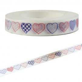 Tape Blanco Corazones Vintage ↕ 8mm