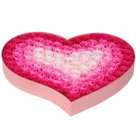 Caja Corazon con 100 Rosas Jabon Rosa
