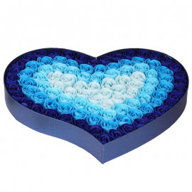 Caja Corazon con 100 Rosas Jabon Azul