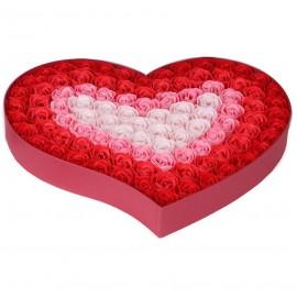 Caja Corazon con 100 Rosas Jabon Rojo