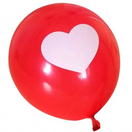 Globo Rojo Corazon Blanco Latex 12'' (10 uds)