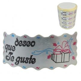 "Etiqueta ""Deseo Que te Guste"" Plata 1000ud"