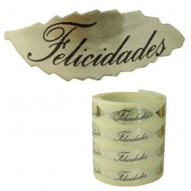 "Etiqueta ""Felicidades"" Hoja Oro 1000ud"