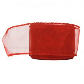 Organza Alambrada ↕5cm x 10mt Rojo