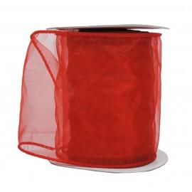 Organza Alambrada ↕10cm x 10mt Rojo