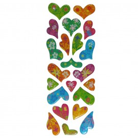 Stickers Corazones Flores