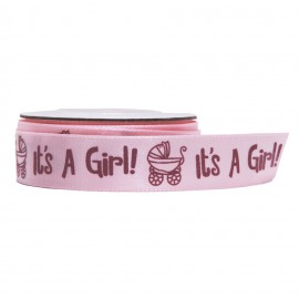 "Cinta Raso ""It`s a girl"" Rosa 18 mm"