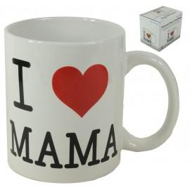 "Tazón ""I ♥ Mama"" Rojo ↕10 cm"