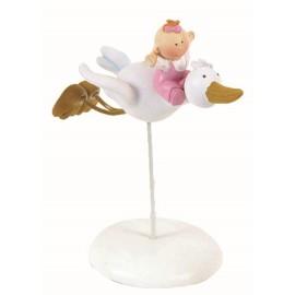 Cigueña Bebe Volando Rosa ↕ 21 cm