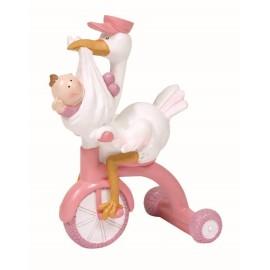 Cigueña Bebe Triciclo Rosa ↕ 15 cm