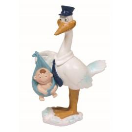 Cigueña Cartero Con Bebe Azul ↕ 18 cm