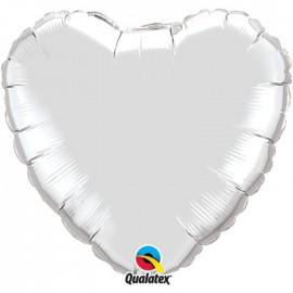 Globo Foil Corazon Plateado 36''