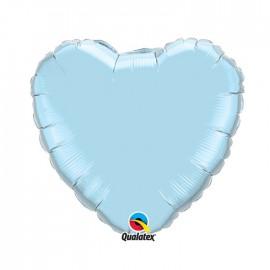 Globo Foil Corazon Celeste Perla 18''
