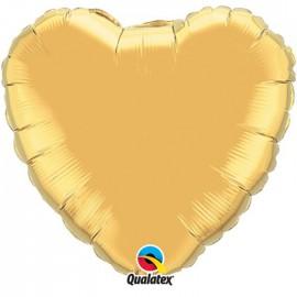 Globo Foil Corazon Oro Metalico 36''