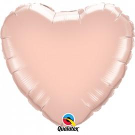 Globo Foil Corazon Oro Rosa 36''