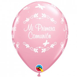 "Globo 11'' Rosa Perla ""Mariposas comunion"" (25 ud)"
