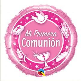 "Globo Foil ""Mi 1º Comunion"" Rosa 18''"