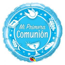"""Globo Foil """"Mi 1º Comunion"""" Celeste 18''"""