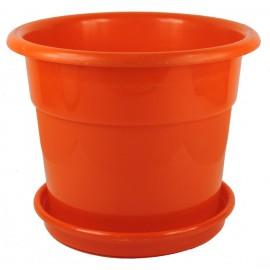 Maceta Plastico c/ Plato Ø15cm Naranja