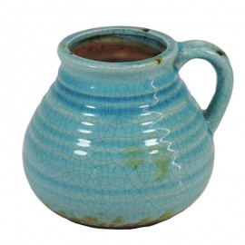 Jarron Ceramica Ancho Turquesa